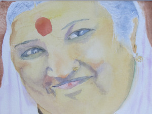 Ammachi Portrait in Watercolor by Deborah Olenev